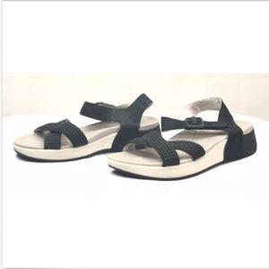 Dansko Black Beads Criss Cross Ankle Strap Sandals